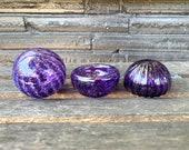 Little Purple Sea Life Set, 3 Aquatic Art Glass Sculptures, Sea Urchin Shell, Blown Glass Float, Mini Dish Trinket Holder, Avalon Glassworks
