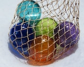 "Nautical Jewel-Tone Floats, Set of Five 2.75"" Hand Blown Glass Balls in Net Bag, Colorful Beach Art, Tiki, Coastal Decor, Avalon Glassworks"