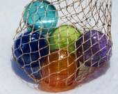"Nautical Jewel-Tone Floats, Set of Five 2.75"" Hand Blown Glass Balls in a Net Bag, Colorful Beach or Coastal Decor, By Avalon Glassworks"