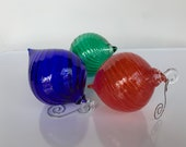 "Red Blue Green RBG Blown Glass Ornaments, Set of Three, Droplet Twist Top Shape 3"" Hanging Holiday Decor or Sun Catchers, Avalon Glassworks"