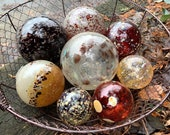 """Autumn Colors, Glass Floats, Set of Eight 2.5""""-4.5"""" Speckled Natural Reds, Golden Browns, Garden Balls, Floating Spheres, Avalon Glassworks"""