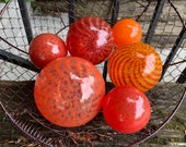 "The Hot Set, Blown Glass Floats, Group of Six 2.5"" - 4.5"" Warm Tones, Red and Orange Garden Balls, Floating Spheres, by Avalon Glassworks"