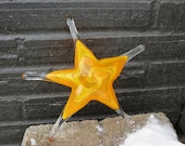 "Yellow and Orange Glass Starfish, Solid 7"" Sea Star Sculpture, Decorative Beach Art Paperweight, Coastal Decor, Gold Star, Avalon Glassworks"
