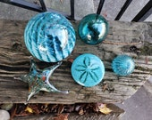 Blue Float & Sea Life Set, 5-Piece Art Glass Sculptures Includes Sea Urchin Shell, Sand Dollar, Sea Star, Two Floats, By Avalon Glassworks