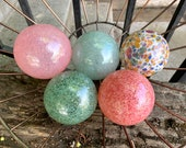 Spring Colors, Pastel Blue Pink Hand Blown Glass Floats, Set of 5 Decorative Spheres Pond Balls, Garden Art Outdoor Decor, Avalon Glassworks