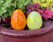 "Orange and Yellow Easter Eggs, Set of Two 4"" Blown Glass Egg Sculptures for Mantel or Spring Table Décor, By Avalon Glassworks"