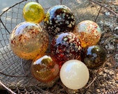 """Earth Tone Glass Floats, Set of Eight 2.5""""-4"""" Natural Colors, Red Brown Amber Gold Beige, Interior Design Balls Spheres, Avalon Glassworks"""