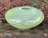 "Green Nest Bowl, Hand Blown Glass 8"" Decorative Asymmetrical Bowl Darker Green Wrap, Chartreuse, Kiwi, Pear, Natural Shape Avalon Glassworks"