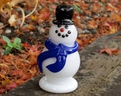 Glass Frosty Snowman Sculpture with Black Hat, Blue Scarf, Black Eyes & Smile, By Avalon Glassworks