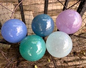 Cool Colors Blown Glass Floats, Set of Five Small Decorative Spheres, Garden Art Decor Pond Balls, Nautical Coastal, Avalon Glassworks