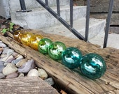 "Beach Glass, Set of Eight 2.5"" Floats, Garden Balls, Nautical Home Décor in Glass Bottle Tones, Hand Blown By Avalon Glassworks"
