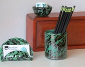 Turquoise Blown Glass Desk Set, 3-Piece Accessories in Turquoise Green and Black Spots, Includes Business Card Holder, Mini Dish, Pen Cup
