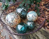 """Teal and Gold Floats, Set of Five Decorative Blown Glass Balls, 2.5"""" to 4.5"""" Spheres, Pond Floats or Garden Decor, By Avalon Glassworks"""