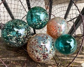 "Teal and Gold Floats, Set of Five Decorative Blown Glass Balls, 2.5"" to 4.5"" Spheres, Pond Floats Outdoor Garden Decor, By Avalon Glassworks"