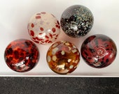Burgundy Red Brown Beige Oxblood Glass Floats, Set of 5 Hand Blown Garden Balls, Interior Design Spheres Outdoor Art Orbs, Avalon Glassworks