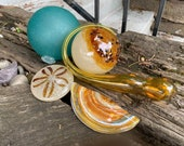 Sandy Float & Sea Life Set, 5-Piece Art Glass Sculptures Includes Razor Clam Shell, Sand Dollar, Kelp, Two Floats, By Avalon Glassworks