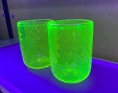 "Uranium Glass Tumbler Set, Glows in Black Light, Hand Blown Vaseline Glass Set of Two 4.25"" Cups, Glasses, Bright Yellow, Avalon Glassworks"
