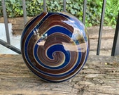 "Jupiter Spiral Vase, Deep Blue with Warm Brown and Red Wraps, 8"" Tall, Switch-Axis Blown Glass Art Vase, Wood Tones, By Avalon Glassworks"