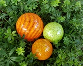 "Orange and Green Blown Glass Floats, Set of Three 2.5"" to 3.5"" Glass Decorative Balls for Home and Garden by Avalon Glassworks"