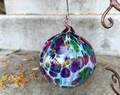 "Pink Mosaic Blown Glass Christmas Ornament, Green, Amber, Blue, 2.75"" Hanging Rainbow Holiday Tree Ball, Sun Catcher, By Avalon Glassworks"