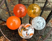 "Orange and White, Set of Five 3.5""-4"" Blown Glass Floats in Bright Oranges and Whites, Decorative Outdoor Garden Balls, Avalon Glassworks"