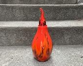 Flame Vase, Red Hand Blown Glass Urn, Flickering Flame Stopper, Firefighter Memorial Art, Orange Coral Crimson Sculpture, Avalon Glassworks