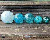 "Aqua & Turquoise Glass Balls, Set of Five, 2.5""-4.5"" Decorative Spheres, Blue Blown Garden Balls, Nautical Pond Floats, by Avalon Glassworks"