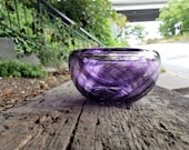 """Purple Blown Glass Bowl, 4.5"""" Double-Wall Style Candy Dish with Optic Twist, Made in Seattle by Avalon Glassworks"""