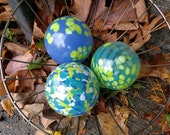 "Blue, Green and White Spotted Glass Floats, Set of Three 3.5"" Hand Blown Glass Garden Balls, Nautical Cottage Decor, by Avalon Glassworks"
