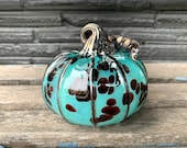 "Spotted Turquoise Blown Glass Pumpkin, 4.5"" Decorative Gourd Sculpture with Dark Red Spots, Gray Metallic Ribs and Stem, Avalon Glassworks"