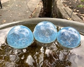 "Jellyfish Pond Floats, Set of Three, 3"" Light Blue Opalescent Blown Glass Decorative Balls, Outdoor or Indoor Decor By Avalon Glassworks"