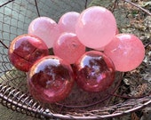 "Tickled Pink Floats, Set of Nine 2.75"" Decorative Glass Balls Nautical Pond Spheres Hand Blown Cranberry Garden Art Globes Avalon Glassworks"