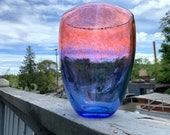 "Sunset Vase, Blue Fades to Pink, 7.5"" Oblong Blown Glass Vase, Transparent Frit Color Blends Top to Bottom, By Avalon Glassworks"
