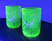 Uranium Glass Tumbler Set, Glows in Black Light, Hand Blown Vaseline Glass Set of Two Cups, Glasses, Bright Green, by Avalon Glassworks