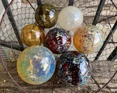 "Autumn Colors, Glass Floats Set of 7 Speckled Natural Red Brown Amber Earth Tone Garden Balls 2.75""-4"" Outdoor Art Spheres Avalon Glassworks"