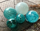 "Aqua & Turquoise Glass Balls, Set of Five, 2.5""-4.5"" Decorative Spheres, Blue Blown Garden Balls, Nautical Pond Floats, by Avalon Glassworks"