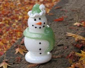 "Glass Snowman Sculpture with Jade Green Scarf and Hat, Black Eyes, Smile, ""Carrot"" Nose, By Avalon Glassworks"