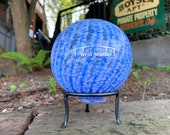 "Blue West Seattle Bridge Float with Stand, Blue & White Stripe Optic Twist Blown Glass 4"" Ball with Silver Etching, by Avalon Glassworks"