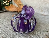"Little Purple Glass Pumpkin, 3"" Decorative Squash Sculpture with Curly Stem, Solid Sculpted Paperweight, Autumn Decor, By Avalon Glassworks"