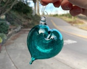 "Aqua Hanging Abstract Glass Heart Ornament, 3"" Blown Glass Sun Catcher Teal Blue Green Holiday Valentine's Day Decoration, Avalon Glassworks"