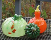 Green & Orange Glass Pumpkin and Squash Set of Three Hand Blown Gourds, Decorative Autumn Centerpiece Sculptures By Avalon Glassworks