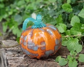 "Orange Blown Glass 4.5"" Pumpkin, with Aqua Spots and Curly Ribbed Stem, Decorative Sculpture By Avalon Glassworks"
