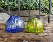 "Blown Glass Sea Urchin Shell Vases, Set of Two, 3"" Decorative Blue and Green Shell Sculptures, Bud Vases, By Avalon Glassworks"