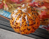 "Red Spots on Orange, Blown Glass 5"" Pumpkin with Gold Accent on Ribs and Twisty Stem, By Avalon Glassworks"