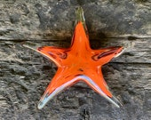 "Red Orange Glass Starfish, Solid 7"" Sea Star Sculpture, Decorative Beach Art Paperweight, Aquatic Coastal Nautical Decor, Avalon Glassworks"