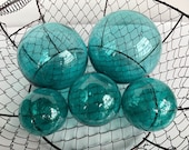 "Aqua Glass Floats, Set of Five, 2.5""-4.5"" Garden Balls, Nautical Home Décor in Vintage Fishing Float Color, Hand Blown By Avalon Glassworks"