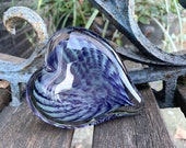 "Purple and Green Radial Burst Glass Heart, Solid 3"" Paperweight Sculpture Appreciation Wedding Valentine Anniversary Gift, Avalon Glassworks"