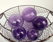 "Amethyst Purples, Set of Five Blown Glass Floats, 2.5""-4.5"" Decorative Floating Balls, Coastal Decor for Home or Garden By Avalon Glassworks"