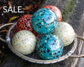 "Speckled Float Set of 6, Blown Glass Balls, 3.5"" Pond Floats, Garden Balls, Beige, Orange, Turquoise, by Avalon Glassworks"
