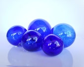 "Cobalt Blue Glass, Set of Five 2.75"" - 4.25"" Floats, Garden Balls, Nautical Home Décor in Vibrant Blue Glass, Hand Blown, Avalon Glassworks"